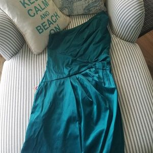 Teal obe shoulder cocktail dress